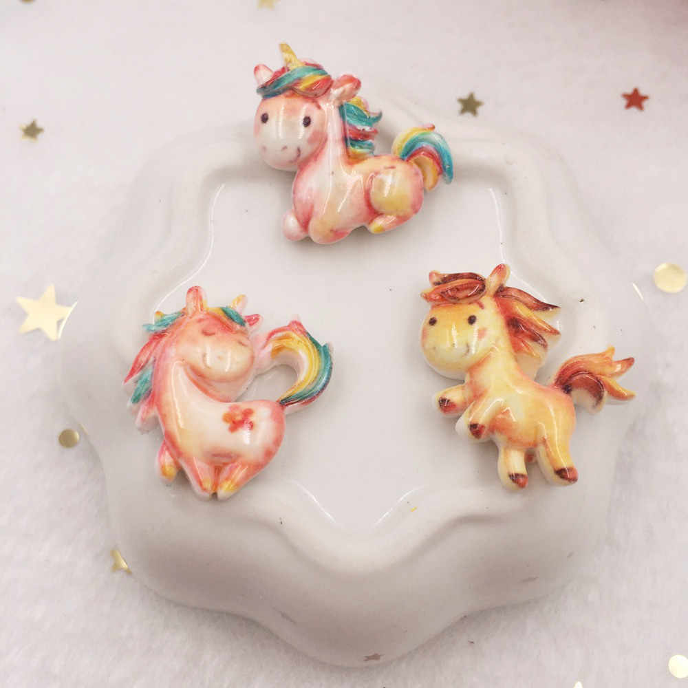 Lovely Resin Cabochon Colorful  Unicorn Flat Back Figurine Stone Appliques 10pcs DIY Wedding Scrapbook Decor Home Craft OW70
