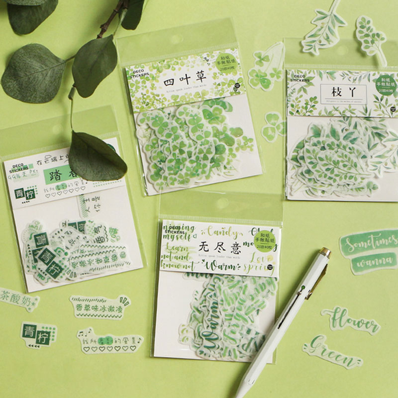 40pcs/bag Four-leaf Clover Series Sticker Package Decoration Stickers Diary Scrapbooking Diy Seal Sticker Stationery