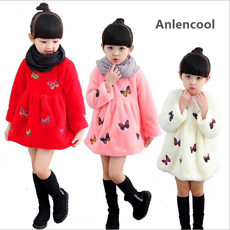 Anlencool The explosion of new winter girls super soft coral velvet dress Korean embroidery butterfly chidren girl winter dress