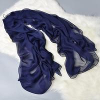200x140cm Blue Solid Color 100 Pure Silk Scarf Women Spring Plain Long Silk Scarves Summer Sunscreen