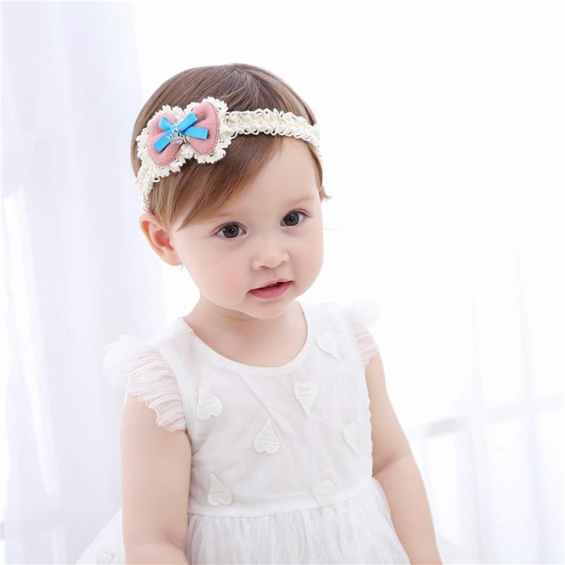 Baby Toddler Girls Big Flower Lace Elastic Headband Soft Headwear