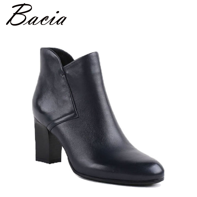 Bacia New Women Leather Winter Shoes High Heels Ankle Boots Genuine Leather Short Plush Autumn Fashion Dark Blue Botas VB030 bacia women high heels ankle boots genuine leather shoes warm short plush inside autumn fashion pure black botas mc023