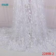Африканская кружевная ткань с бусинами вышитая нигерийская талевая кружевная ткань свадебная ткань высокого качества французский Тюль YA2289B-2