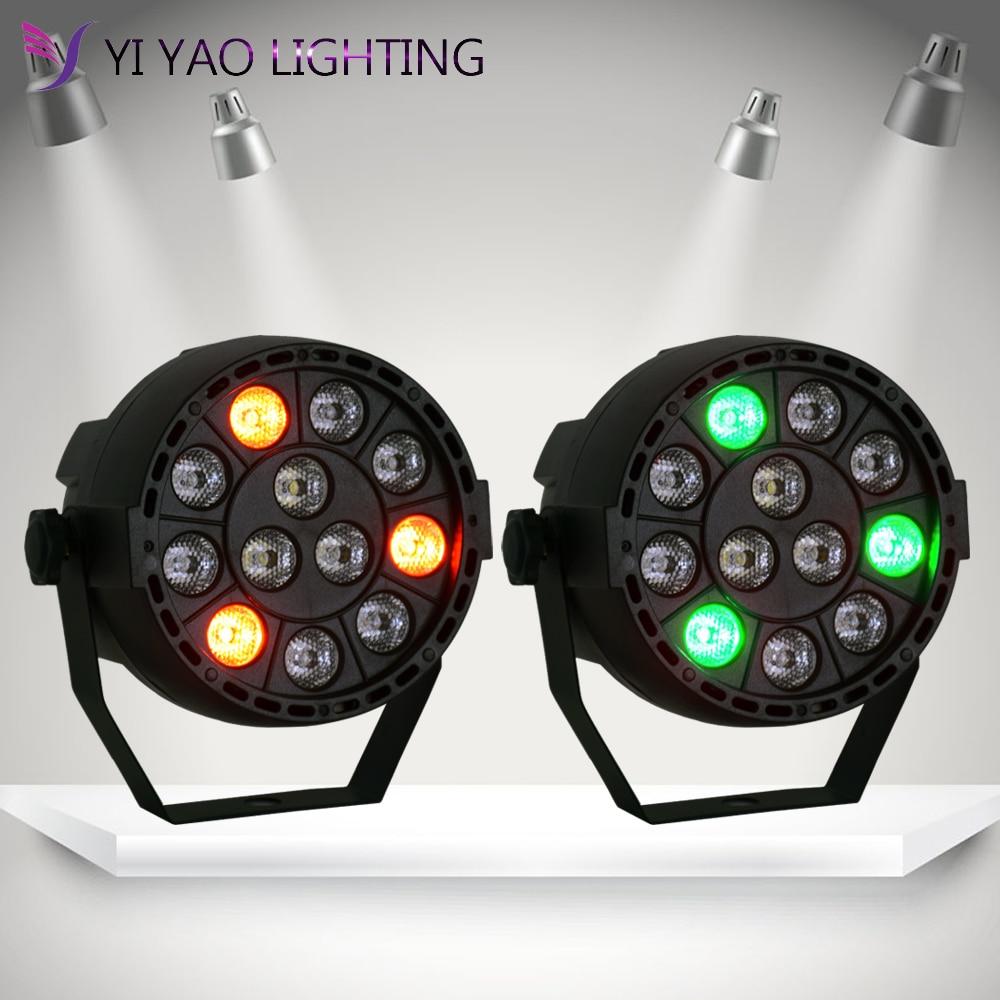 Flat 12 Mini Led Par Stage Light RGBW 36W Disco Party Lights Dmx Luz DJ Effect Controller Dj Equipment Projector 2PCS/LOT