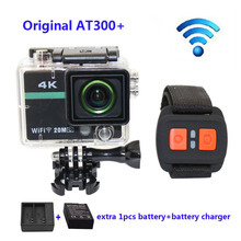 Envío libre!! AT300 Plus Wifi 4 K Full HD 1080 P Se Divierte La Cámara con Control Remoto RF Casco + cargador de Batería + Extra 1 unids batería