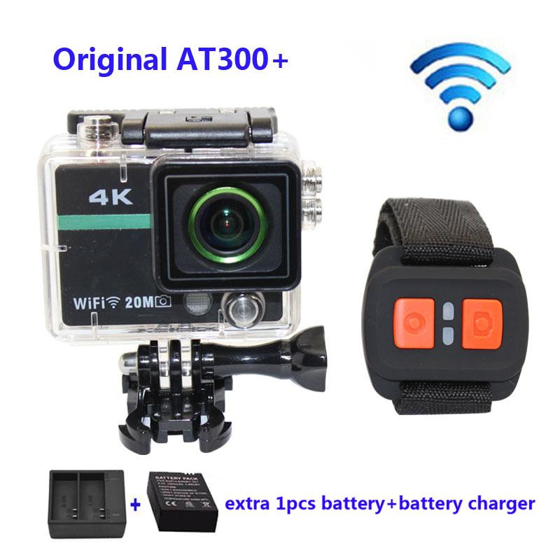 Prix pour Livraison gratuite!! AT300 Plus Wifi 4 K Full HD 1080 P Sport Caméra avec RF Télécommande Casque + chargeur de Batterie + supplémentaire 1 pcs batterie