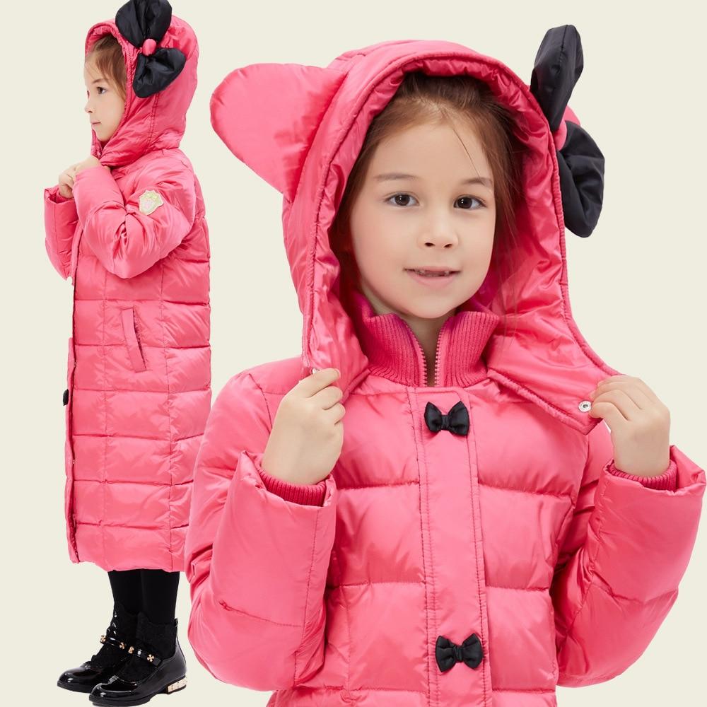 ФОТО 2016 Winter Luxury Brand Children's Clothing Children Down Jacket Thick Warm Super Large Hat with Flower Girls Fashion Warm Coat