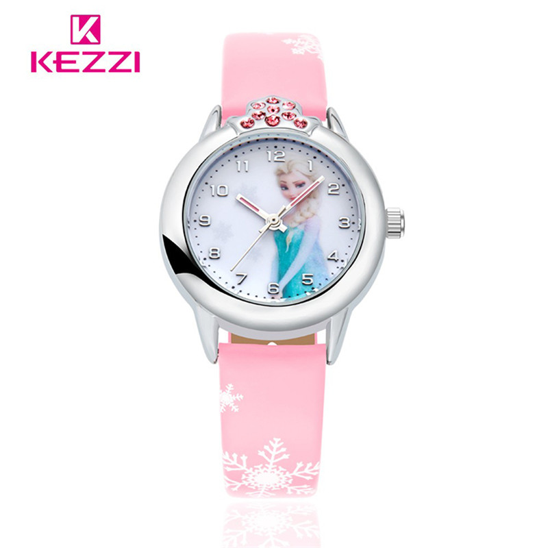 New Cartoon Children Watch Princess Elsa Anna Watches Fashion Girl Kids Student Cute Leather Sports Analog