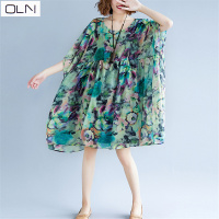 New Arrival OLN Summer Dress Vintage Sundress Cotton Art Print Big Swing Dress one size (L 6XL) Plus Size New Dress
