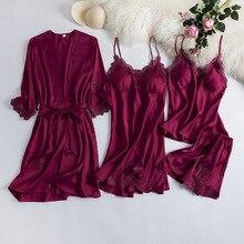 MECHCITIZ 4 חתיכות נשים Robe שמלת סטי תחרה סאטן הלבשת קיץ משי חלוק רחצה Nightwear Pyjama קצר שינה גלימות טרקלין סט