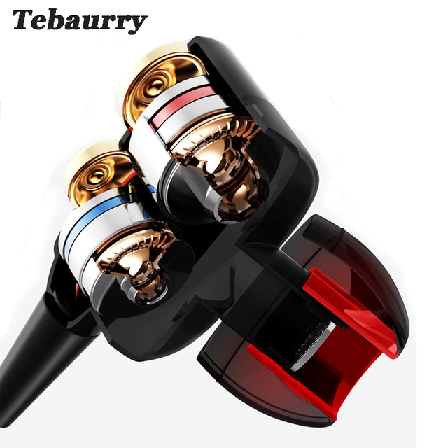 TEBAURRY Double Unit Drive In Ear Earphone Bass Subwoofer Earphone for phone DJ mp3 Sport Earphones Headset Earbud auriculares Audio Audio Electronics Electronics Head phone Headphones & Headsets color: Back|Gold|SLIVER|White