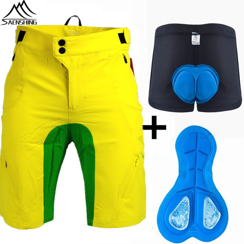 SAENSHING Men Cycling Shorts + 3D Gel Padded Underwear MTB Downhill Sport Breathable Quick Dry Mountain Bike Shorts Ciclismo XXL