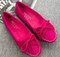 2016 Free Shipping Women Flats Doug Bottom Shoes Bowknot Tassel Soft Bottom Flat Woman Shoes 32 LAG Boat Slip On Loafers Leather