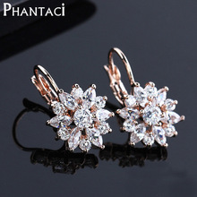 Free Gift Box Luxury Female Zircon Drop Earrings Rose Gold Color CZ Crystal Flower Dangle Earrings For Women Jewelry Wholesale