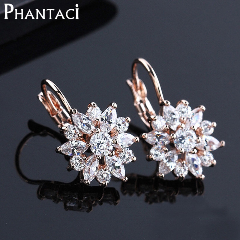 Gratis Present Box Luxury Kvinnliga Zircon Drop Earrings Rose Guldfärg CZ Crystal Flower Dangle Örhängen För Kvinnor Smycken Partihandel