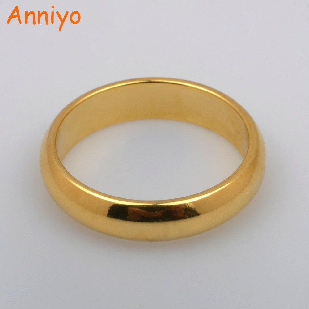 Anniyo Gold Color Arab African Wedding Ring Women Fashion Jewelry Size 8 New