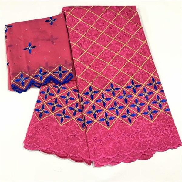 Charmant mariage/fête africaine broderie coton dentelle tissu et 2y suisse voile écharpe tissu CCV21 (5 + 2y)