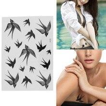 Hot Selling 1Sheet Swallow Bird Design Temporary Tattoo Paste Tattoos Makeup Sticker