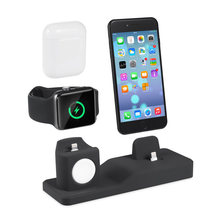 3 in 1 Lade Dock Halter Für Iphone X XS Iphone 8 Iphone 7 Iphone 6 Silikon ladegerät stehen Dock station Apple uhr Airpods(China)