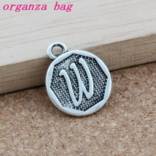 100pcs/lots Antique Silver Double sided Letter  W Initial alloy Charms Pendants Fashion Jewelry DIY 14.8x28.2MM A-407