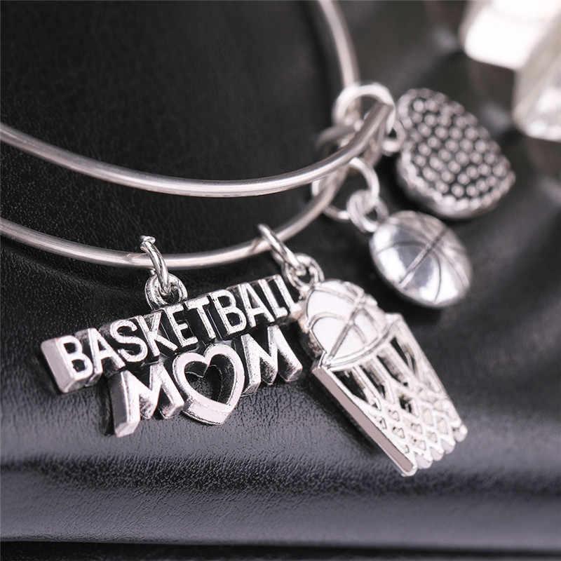 Рыболовный крючок спортивный стильный, посеребренный баскетбол мама слова браслет из нержавеющей стали проволочный браслет для мужчин ювелирные изделия девушки подарки