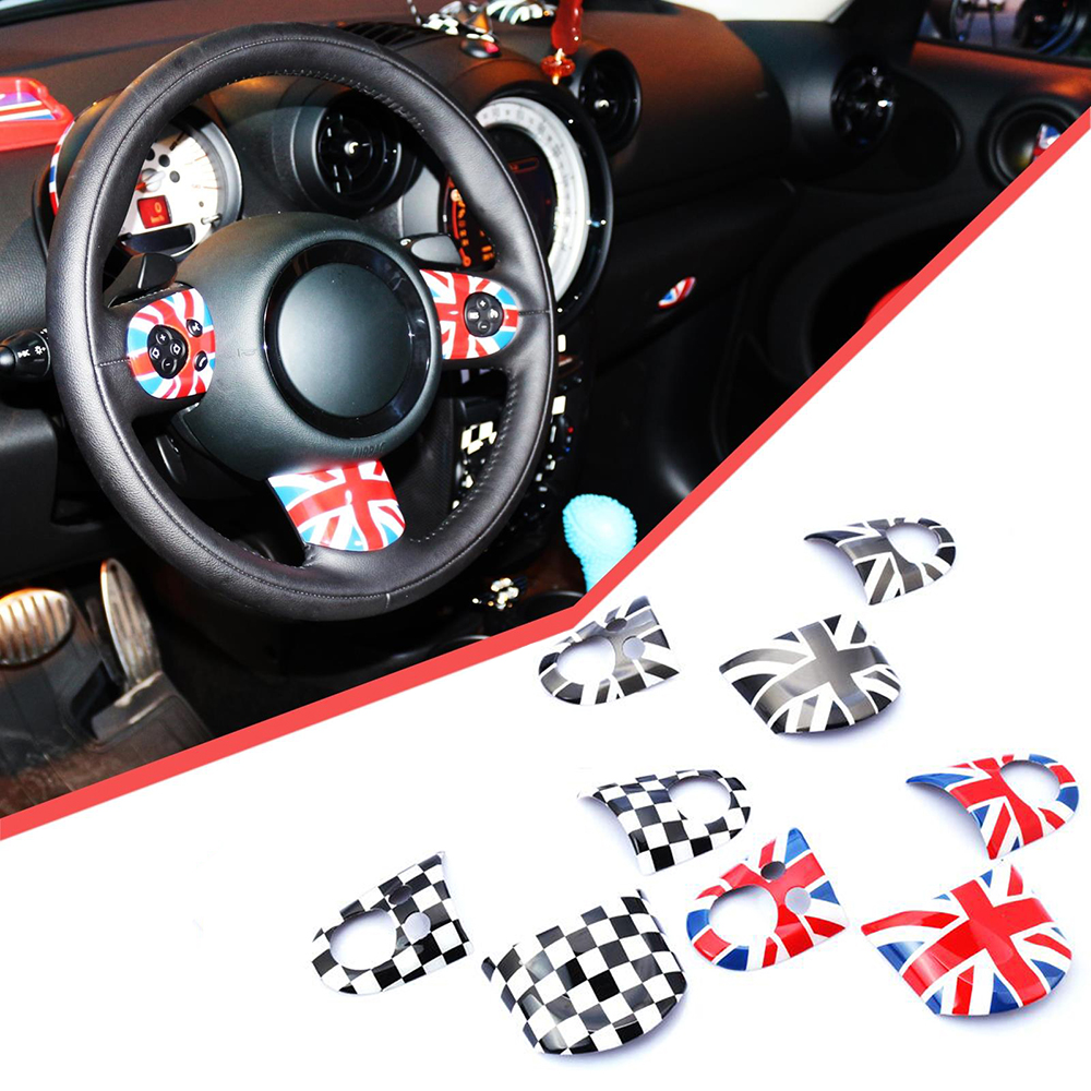 3pcs Union Jack Car Steering Wheel Sticker Cover Decoration For Mini Cooper JCW Clubman R55 R56 R57 R58 R59 R60 R61 Car Styling