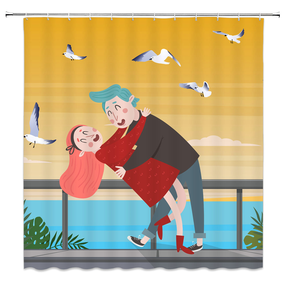 Cartoon Character Shower Curtain Blue Brown Couple
