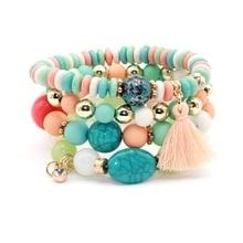 4pcs/set Brand Fashion Multilayer Crystal Candy Beads Tassel Bracelets & Bangles Strand Stretch Friendship Bracelets for Women