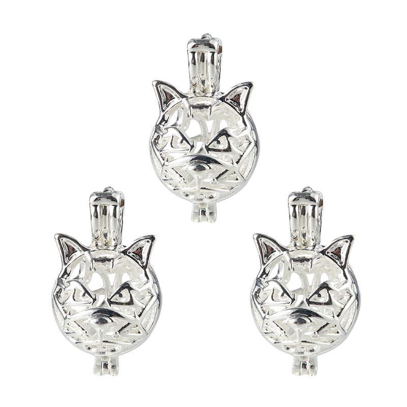 5pcs Cute Animal Cat DIY Locket Cage Pendant Essential Oil Diffuser Maneki-neko Necklace jewellery Making Wicca
