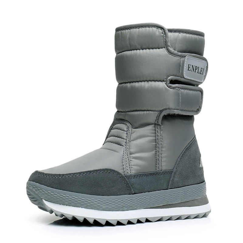 VESONAL/2019 г. Зимние сапоги до середины икры женская обувь женские теплые ботинки из 25% шерсти Бархатные плюшевые водонепроницаемые женские ботинки на платформе в русском стиле