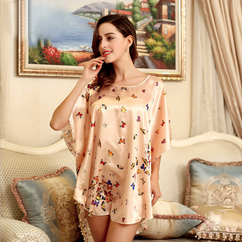 Causey 2018 Summer Half Sleeve robe femme Bathrobe Silk Satin Kimono bridesmaid robes Floral Printed Robe Night Bath Robe