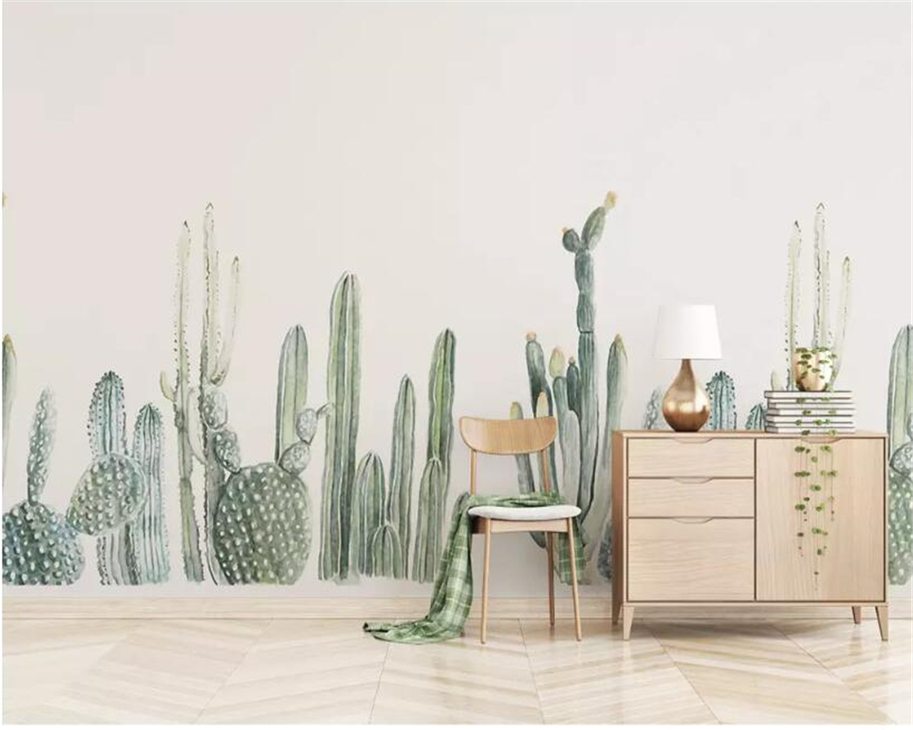 Beibehang Custom Wallpaper 3d Rainforest Cactus TV Cafe Background Wall Home Decoration Living Room Bedroom 3d Wallpaper Mural