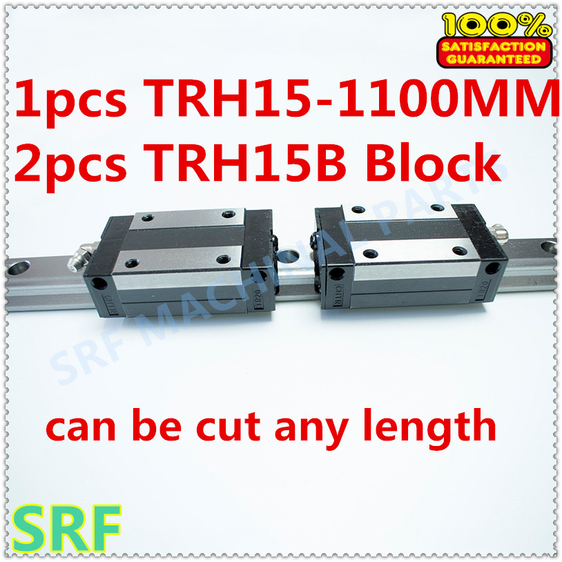 High quality 15mm  Precision Linear Guide Rail 1pcs TRH15 L=1100mm +2pcs TRH15B Square linear block for CNC 2pcs high quality 1 2 inch shank rail