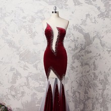 Sexy Wine Red Velour Mermaid Long Prom Dresses