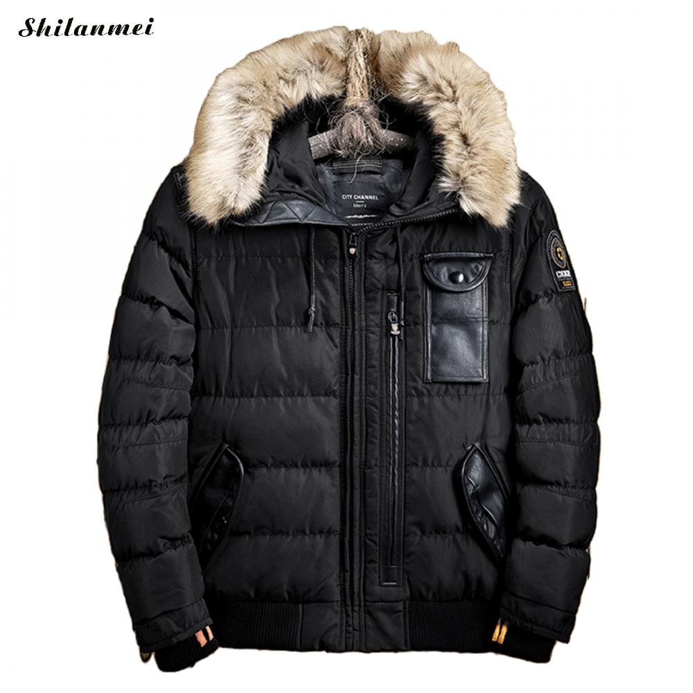 Thick Jacket Mens Winter Parka With Fur Hood Padded Warm Winter Coat Men Windproof Snow Windbreaker Mens Hooded Jackets Overcoat