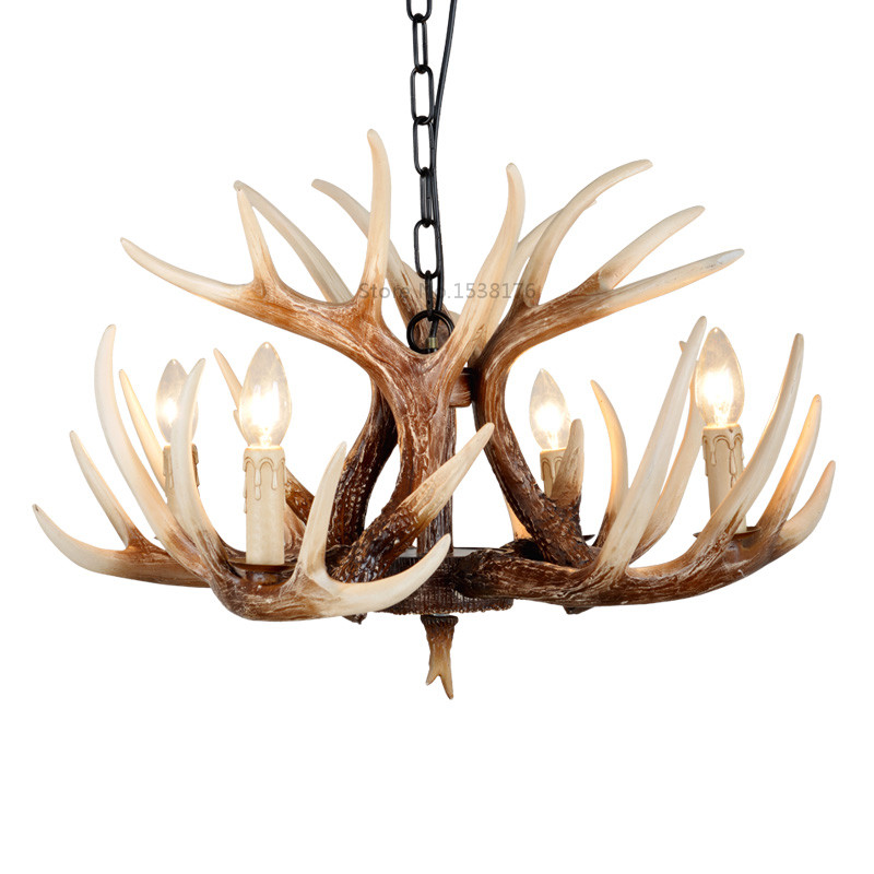 Europe E14 Candle Antler Chandelier American Retro Resin Deer Horn Pendant Lamps Home Decoration Lighting Suspension Luminair europe country 5 heads french retro pendant light resin deer horn antler glass lampshade home decoration lighting e27 110 220v