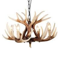 Europe E14 Candle Antler Chandelier American Retro Resin Deer Horn Pendant Lamps Home Decoration Lighting Suspension Luminair