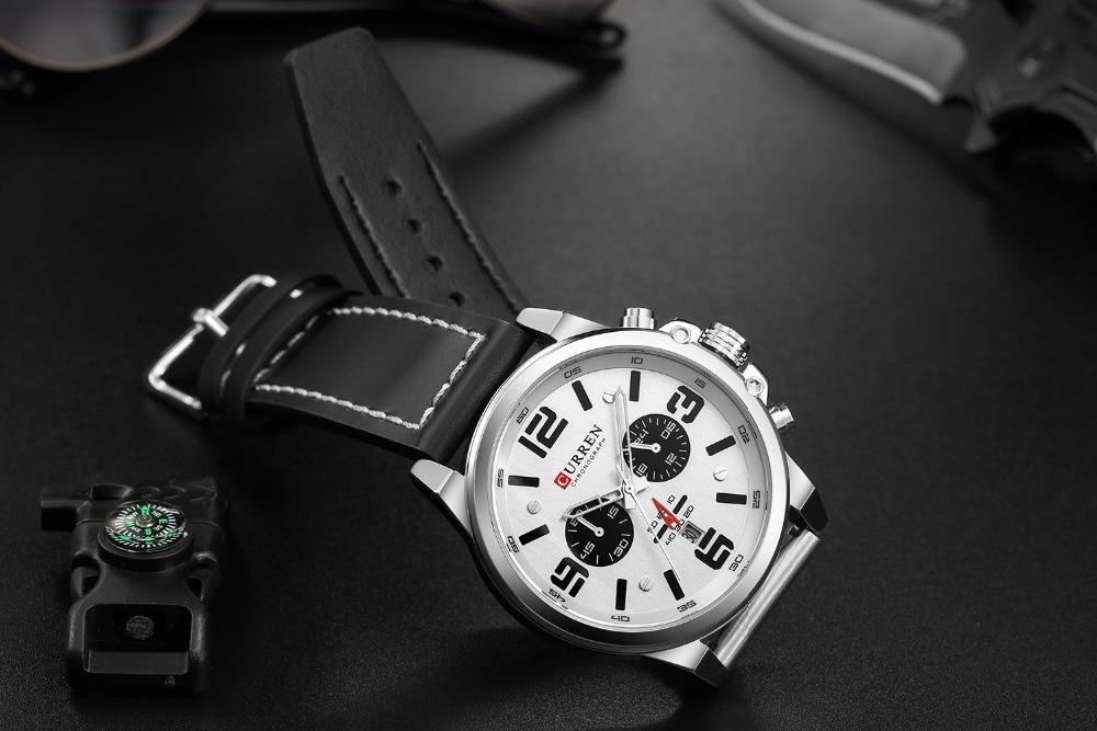 HTB1 hpZauH2gK0jSZJnq6yT1FXae NEW CURREN Mens Watches Top Luxury Brand Waterproof Sport Wrist Watch Chronograph Quartz Military Leather Relogio Masculino
