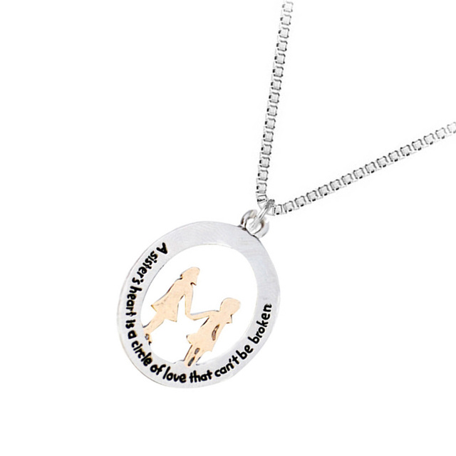 2017 new products sister necklace couple new design sister alloy