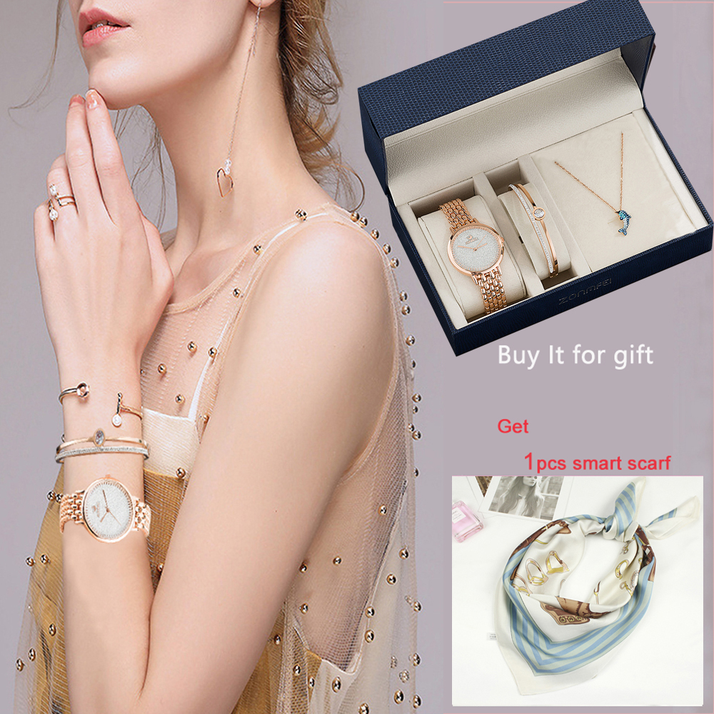 3Pcs Ladies Dress Bracelet Wristwatches Top Quality Stainless Steel Bangle Gold Women Decorate Smart Quartz watches Gift big box
