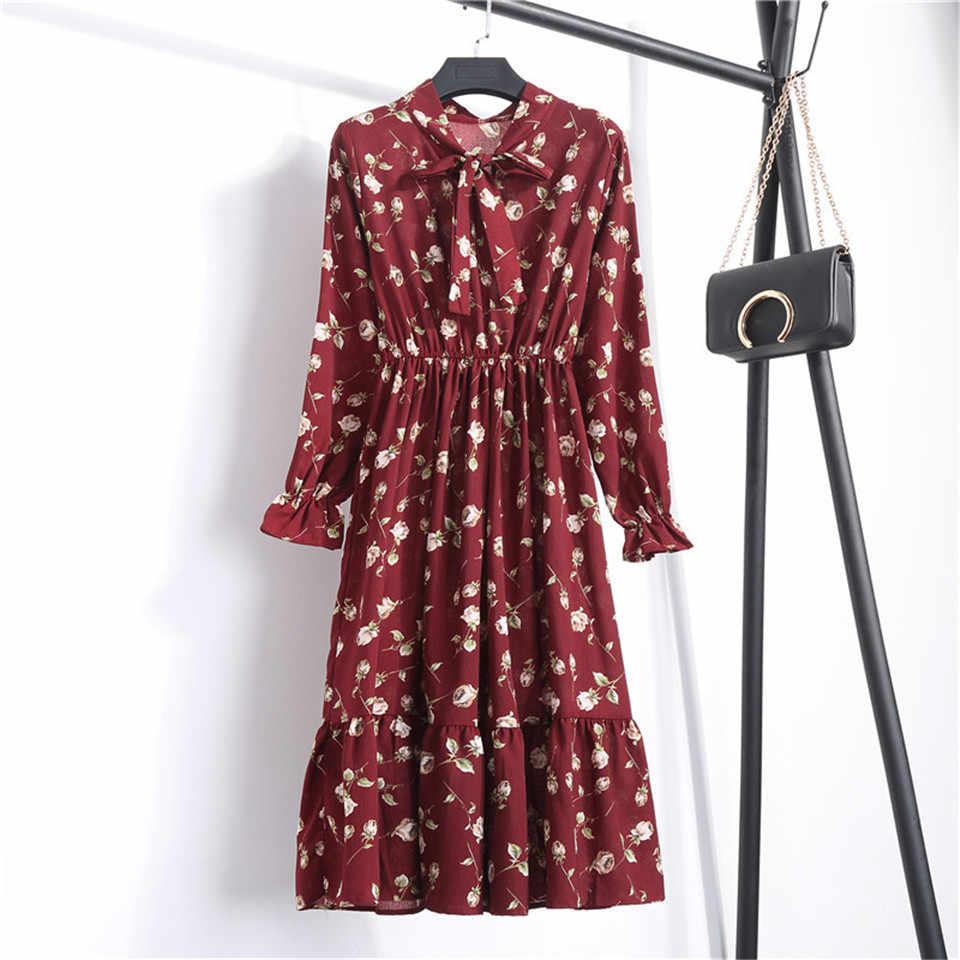 Musim Panas Musim Gugur Wanita Sarafans 2019 Korea Pesta Lengan Panjang Gaun Floral Cetak Gaun Sifon Wanita BoHo Long Maxi Gaun Vestido