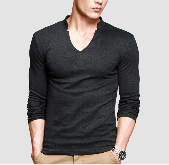 Thick T Shirt Men 39 S Long Sleeve Brand Tee V Neck T Shirt