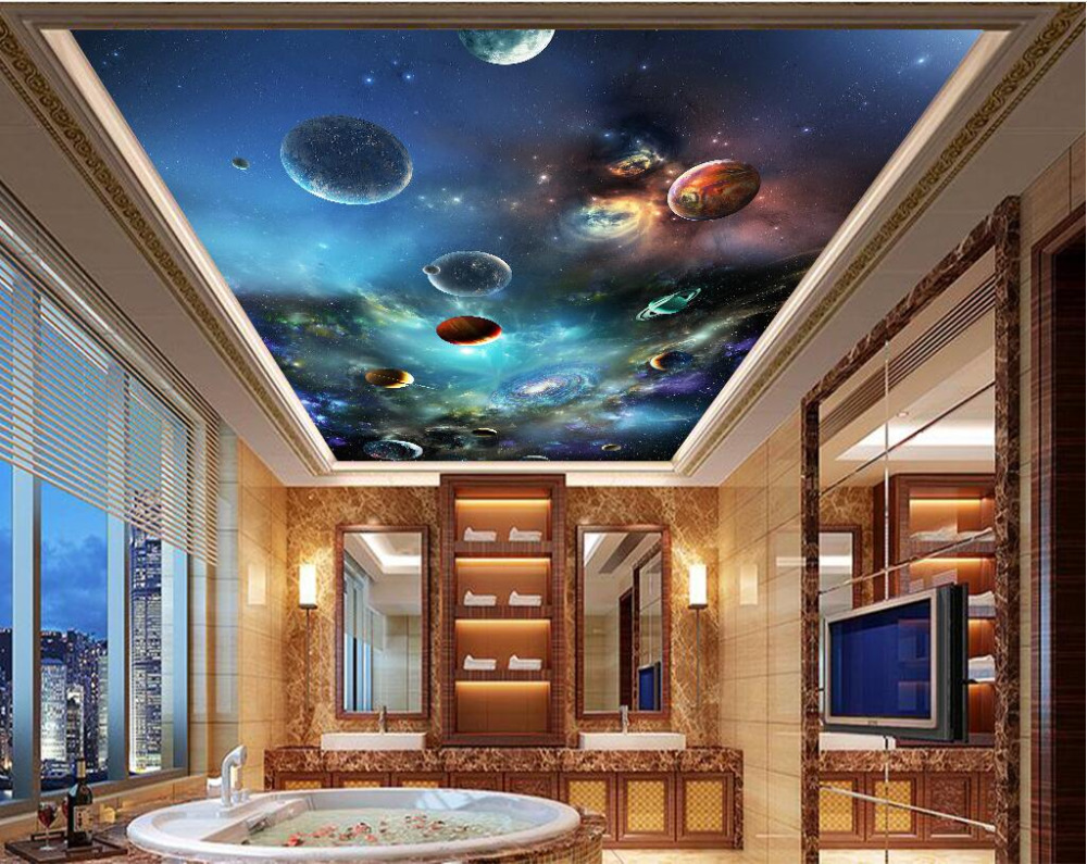 3d wallpaper custom photo non-woven mural The sky solar system 3d wall murals wallpaper ceiling room decoration painting custom 3d ceiling wallpaper beautiful sky maple murals for the living room bedroom ceiling wall waterproof wallpaper