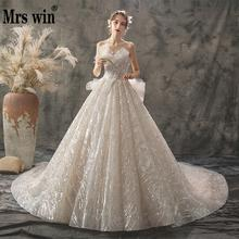 2020 New Mrs Win Wedding Dress Sexy Strapless Ball Gown Luxury Bling Bling Beading Princess Vestido De Noiva Robe De Mariee F