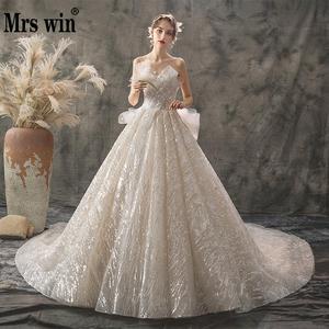 Image 1 - 2020 新夫人勝利ウェディングドレスセクシーなストラップレスの夜会服の高級ケバケバビーズ王女 Vestido デ Noiva ローブ · デのみ