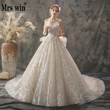 2020 חדש גברת Win חתונה שמלה סקסי סטרפלס כדור שמלת יוקרה בלינג בלינג ואגלי נסיכת Vestido דה Noiva גלימת דה mariee F