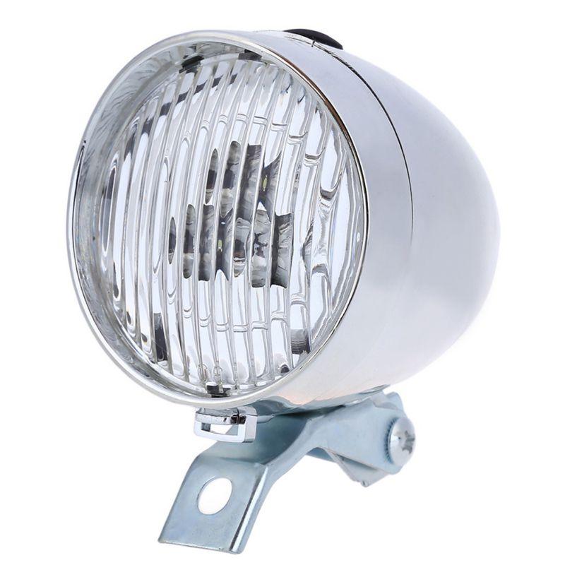 New 3 LED Black White Retro Bicycle Bike Front Light Headlight Vintage Flashlight Lamp Night Safe Light