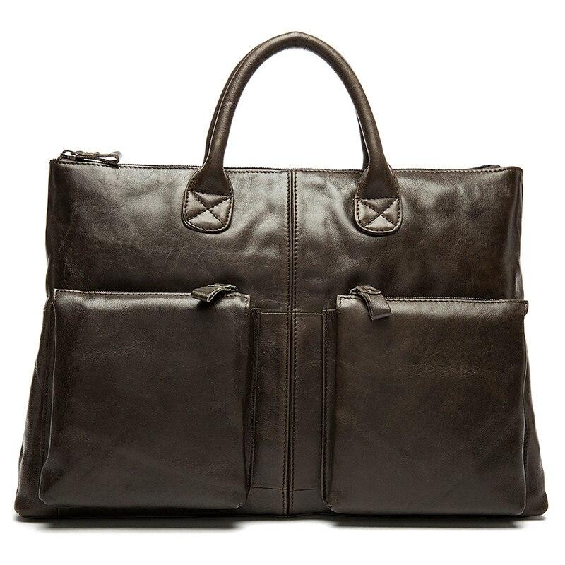 Handtasche Herren Messenger Schwarzes Leder Business Tasche Aktentasche Marke Umhängetasche Echtem Aus Für Dokument coffee Berühmte Männer Vintage Taschen RyZaB4RUc