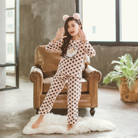 Autumn Children's Pajamas Set Girls Home Service Suit 2018 Long Sleeve Dot Cartoon Cotton Two piece Suits for Teenagers
