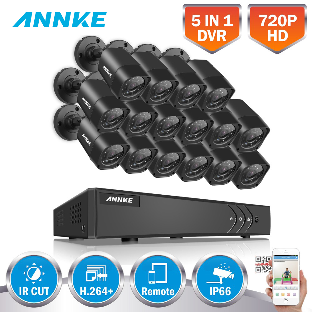 ANNKE 16CH HD TVI 1080P Lite CCTV Security System DVR with (16) 720P Outdoor Fixed IP66 bullet Cameras Video Surveillance kit annke 8 channel hd 1080n video security system dvr 4 hd 960p indoor outdoor cameras with ip66 weatherproof
